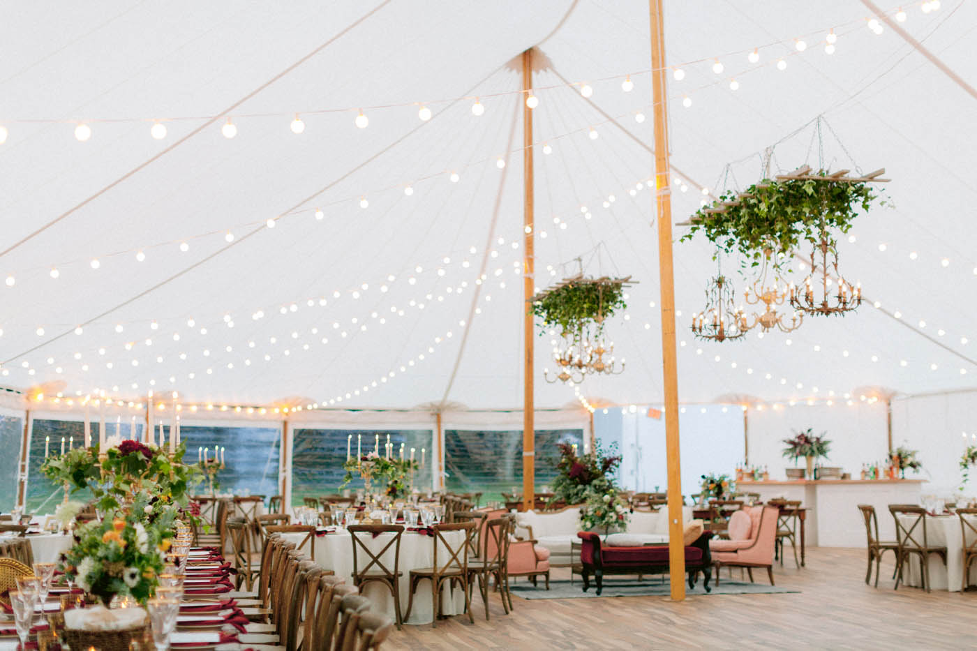Tent wedding reception in the Berkshires at The Mount